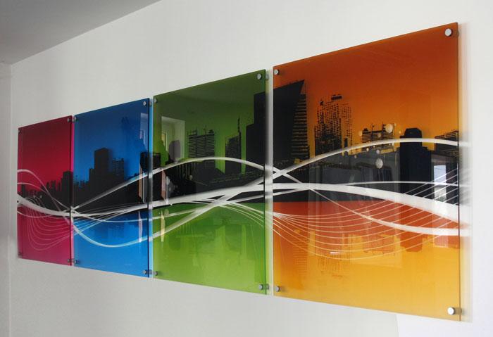 разноцветная фотопечать на стекле